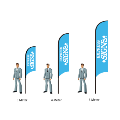 Feather Flags Single Sided - Size Comparison