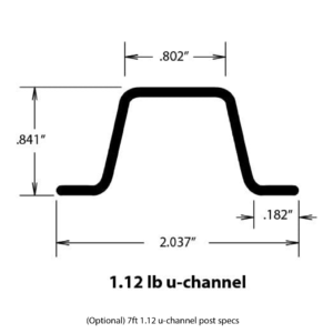 u-channel 1.12lb post 7ft specs