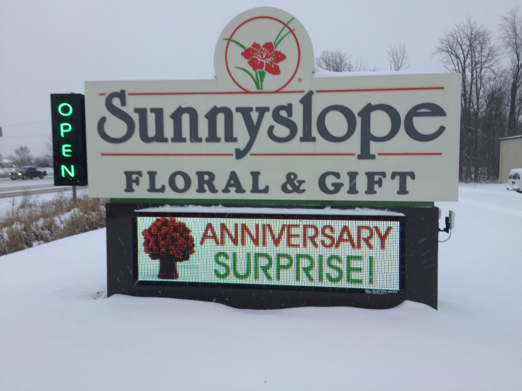 Monument Sign with LED Digital Display