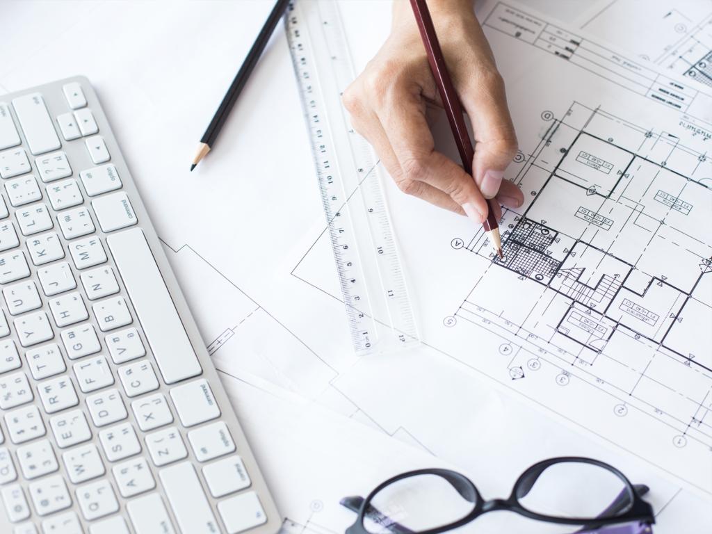 Design & Project Management - pen, sketches, keyboard, glasses