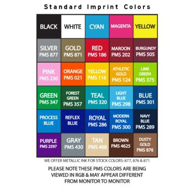 Sunglasses Standard Imprint Color Chart