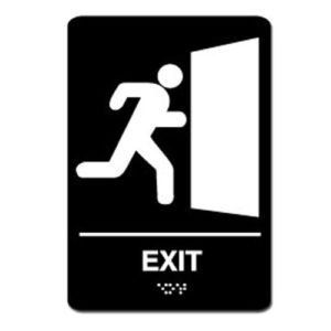 Exit Ada Sign - White on Black