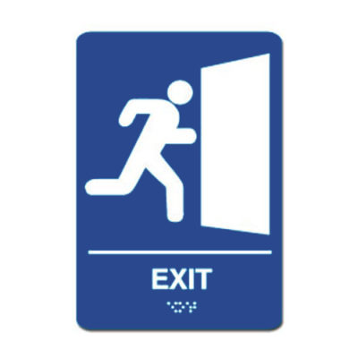 Exit ADA Sign White on Blue