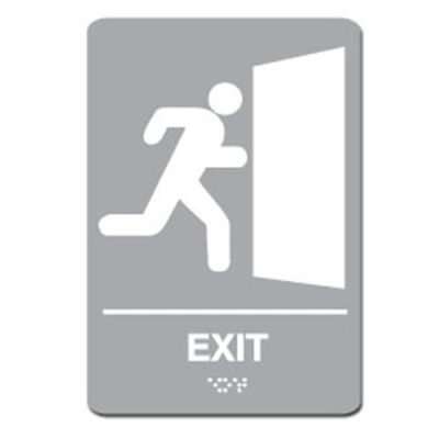 Exit Ada Sign - White on Gray