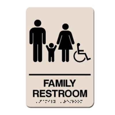 Family Accessible ADA Restroom Sign - Black on Taupe