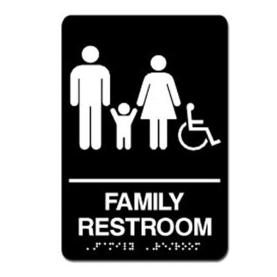 Family Accessible ADA Restroom Sign - White on Black