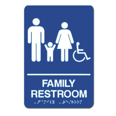 Family Accessible ADA Restroom Sign White on Blue