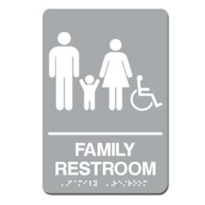 Family Accessible ADA Restroom Sign - White on Gray