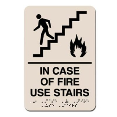 In Case of Fire Use Stairs ADA Sign - Black on Taupe