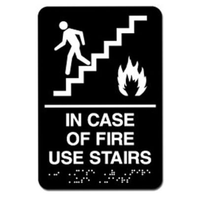 In Case of Fire Use Stairs ADA Sign - White on Black