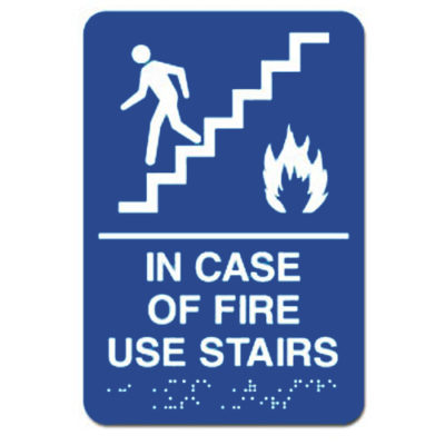 In Case of Fire Use Stairs ADA Signs - White on Blue