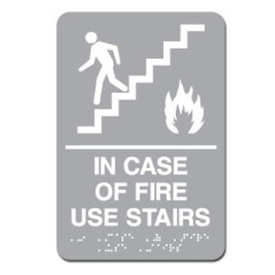 In Case of Fire Use Stairs ADA Sign - White on Light Gray