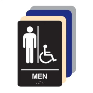 Mens Accessible ADA Restroom Sign All Different Colors