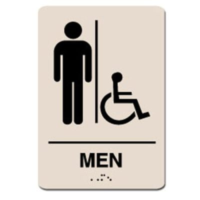 Mens Accessible ADA Restroom Sign White on Taupe