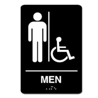 Mens Accessible ADA Restroom Sign White on Black