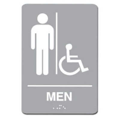 Mens Accessible ADA Restroom Sign White on Gray