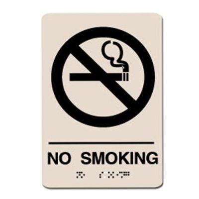 No Smoking ADA Sign - Black on Taupe