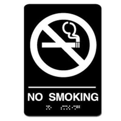 No Smoking ADA Sign - White on Black