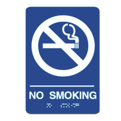 No Smoking ADA Sign - White on Blue