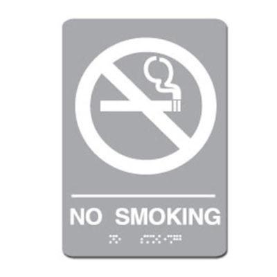 No Smoking ADA Sign - White on Light Gray