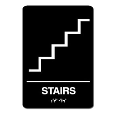 Stairs ADA Sign - White on Black