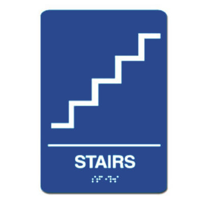 Stairs ADA Sign - White on Blue