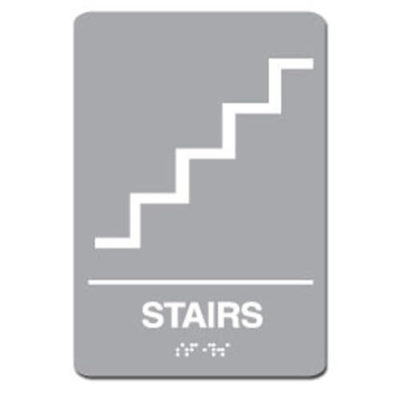 Stairs ADA Sign - White on Light Gray