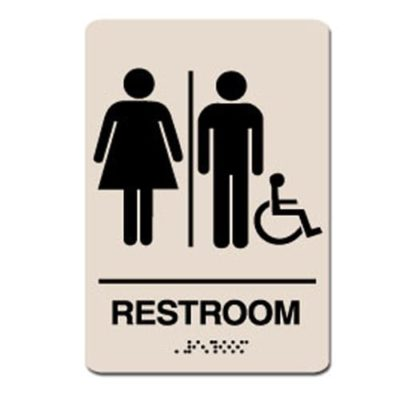 Unisex Gender Neutral Accessible ADA Restroom Sign - Black on Taupe