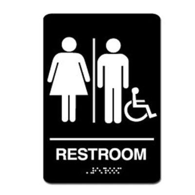 Unisex Gender Neutral Accessible ADA Restroom Sign - White on Black