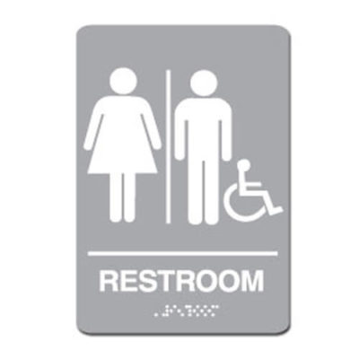 Unisex Gender Neutral Accessible ADA Restroom Sign - White on Light Gray