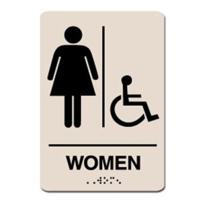 Women Accessible ADA Restroom Sign - Black on Taupe
