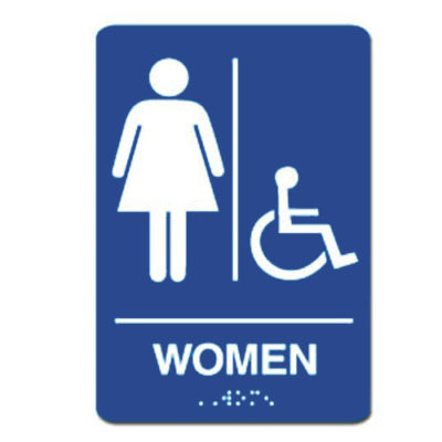 Women Accessible ADA Restroom Sign - White on Blue