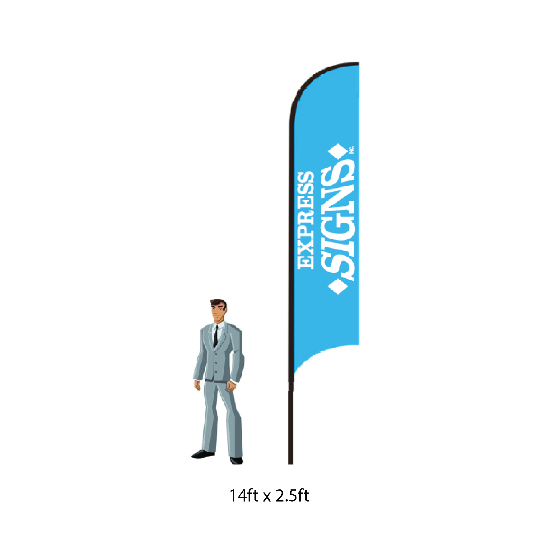 Feather Flag Single Reverse - 14ft, Stands 15ft Tall